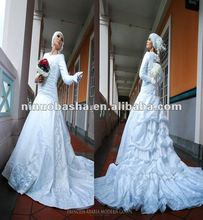 NW146 White Feminine A line Skirt with Long Trumpet Sleeves Hot Sell Islamic Muslim Wedding Dress