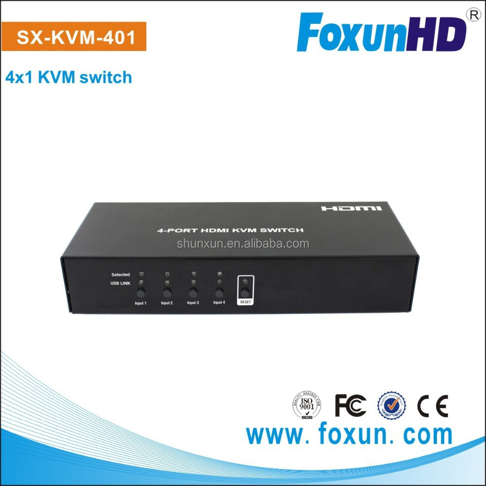 4 USB Port to 1 Display keyboard hot keys to control KVM switch SX-KVM401 support auto switching