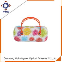Digital printing PU Sunglasses Case with plastic handle