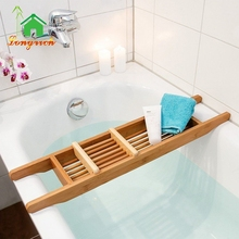 Environmental Functional Bamboo Wooden Bathtub Caddy With Book Holder