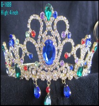Wholesale Fashion large pageant crowns customized crowns blue rhinestone tiara