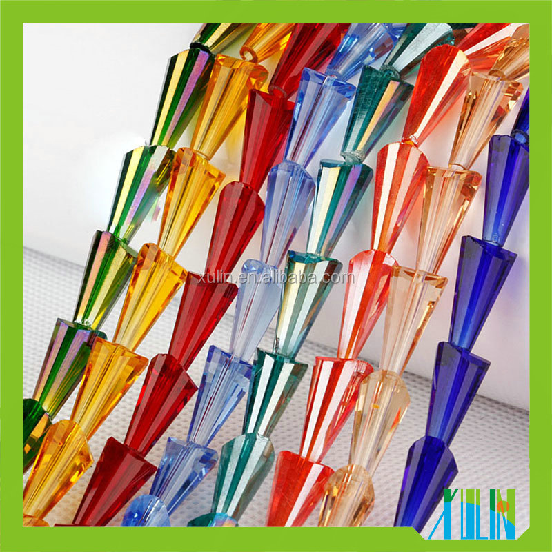 Mixed Color Clear Crystal Glass Tower Shape Cone Beads for Wedding Clothing