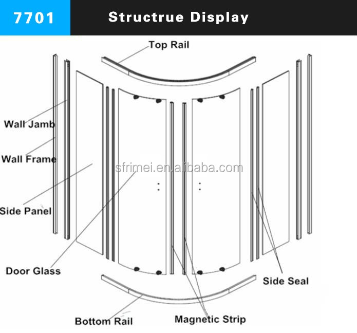 K-7701 Guangzhou Bathroom Sliding Door Portable Shower Room Glass Seal Shower Door Rounded