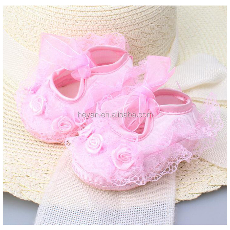 New Arrival Beautiful Newborn Baby Girls Princess Lovely Lace Flower Shoes