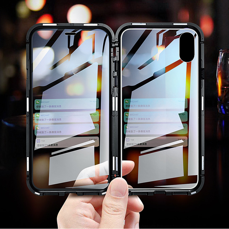 360 Full Magnetic Adsorption Case for XS Clear Double-sided Glass Built-in Magnet Case for IPhone XR XS <strong>MAX</strong> S9 NOTE9 Metal Cover