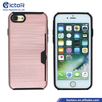 Factory price 2in1 style brushed design case for iPhone 7 phone case card holder