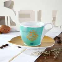 Napoli Gift Collection 100CC Hyper White Porcelain Cup and Saucer of Caftan Turquoise