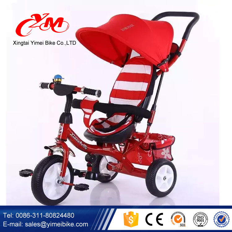 factory supply 4 in 1 baby carrier tricycle/new model tricycle for kids with big wheels/wholesale cheap baby tricycle bike