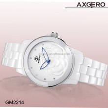 New fashion quartz movt luxury white color ceramic watch for women