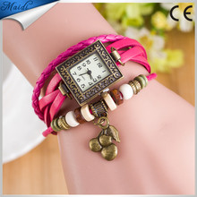 Reloj Pulsera,Popular Women Weave Cherry Bracelet WristWatches Analog Relojes Mujer Quartz Watch WristWatch Watches VW032
