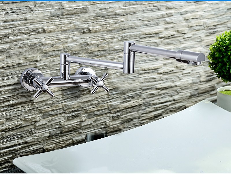 Europe Style Single Handle Brass Chrome Bathroom Tap Wall Mounted Water Mixer Tap HM-60003