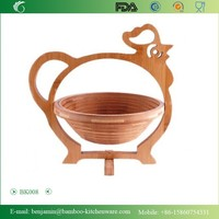 BK008/Hot Sale Exquisite Folding Rooster Shape Bamboo Basket For Decoration