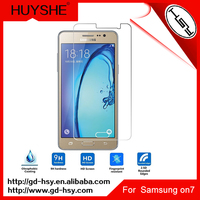 HUYSHE new model high quality 0.3mm 2.5d tempered glass screen protector for samsung galaxy on7