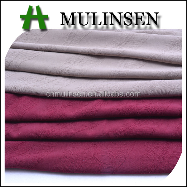 Mulinsen Textile Polyester Spandex Solid Color Clip Jacquard Fabric For Dress