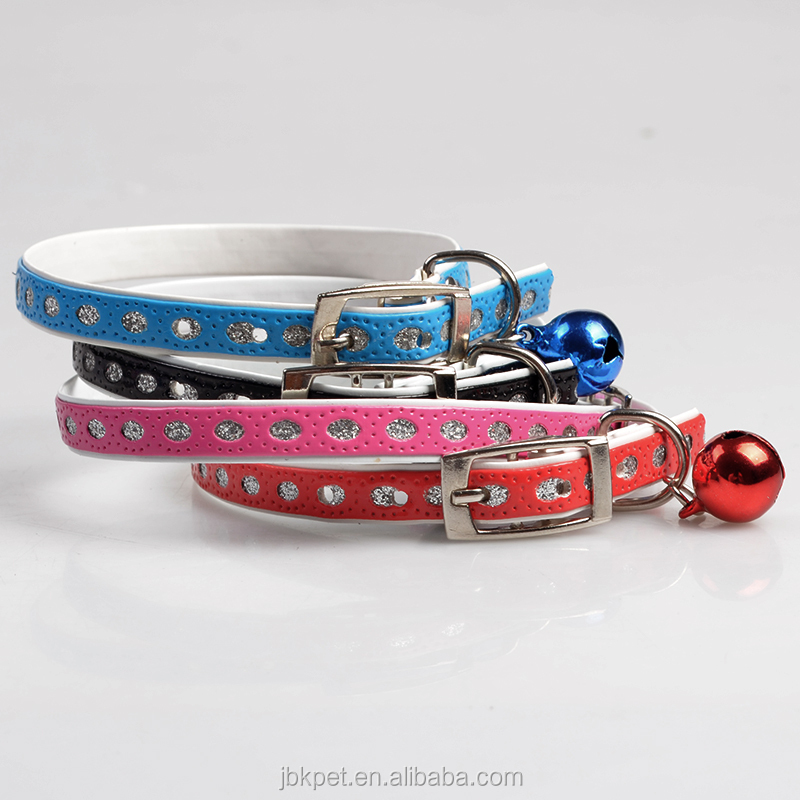 JBK PET High quality Fashion PU leather crystal accessory bell pet dog cat collars