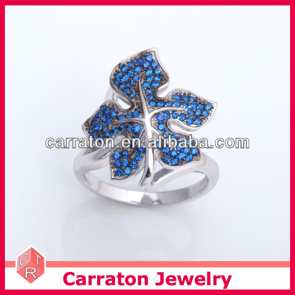 Mix Order Accepted .925 Solid Silver Jewelry Wholesale Maple Leaf Semi Stone Silver Ring