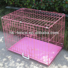 "New Pink 36"" Medium Folding Wire Dog Puppy Crate Cage With Metal Tray"