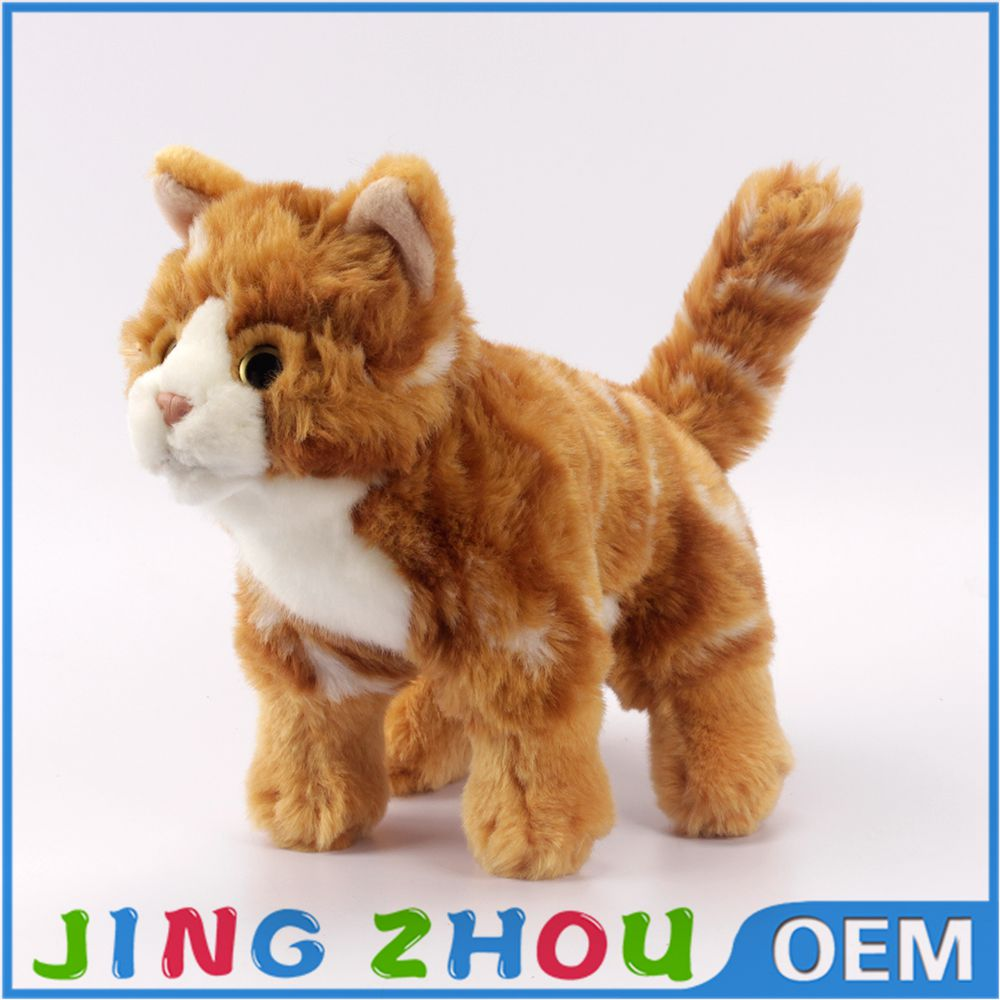Hand-made Artificial Cat Plush Toy Lazy standing furry Cat Stuffed Animal Toy for Birthday Christmas Gift