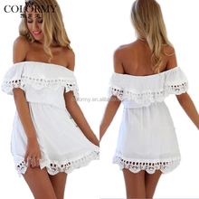 2017 New arrival custom mini white sexy off shoulder lace dresses for women