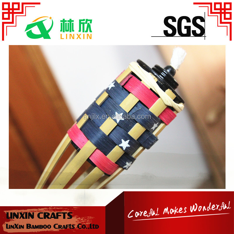 outdoor garden decoration bamboo torch colorful bamboo torch