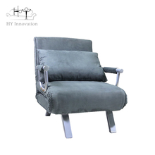 Hot Sale Modern Folding Sofa Cum Bed Design Sofa Furniture Metal Frame Leisure Velvet Single Chair Sofa Bed