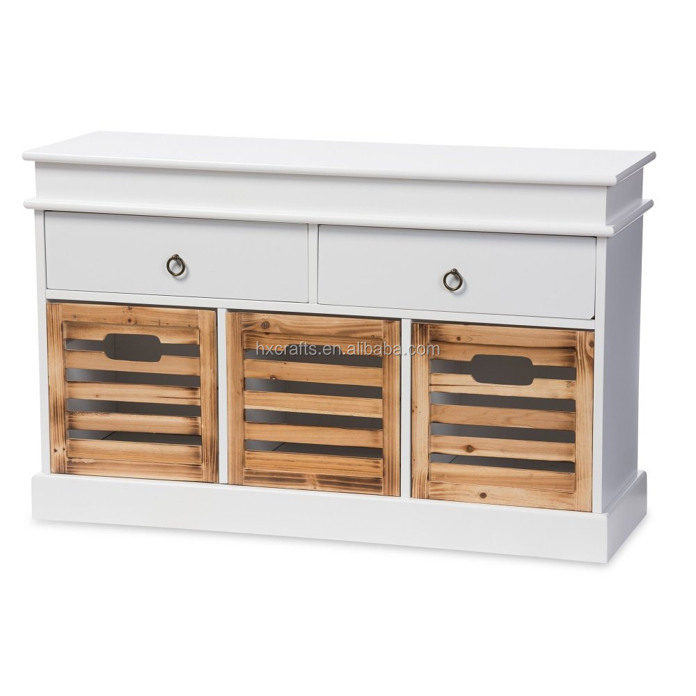 Reclaimed Solid Wood Sideboard Storage Bench: Shabby Chic Vintage Solid Wood Antique White Finished 5