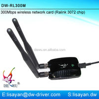 Free driver high power 300Mbps 802.11n wireless usb adapter with ralink rt3072 chipset