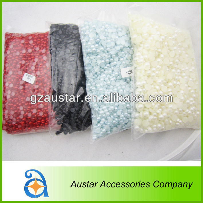 Colorful Flat back round plastic pearl for decoration,plastic pearls in bulk