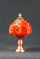 Doll house miniature Lights Red Crown 12 volt LED Tiffany Desk Lamp
