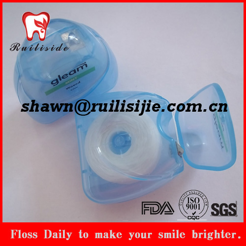 Reusable triangle shape container waxed PTFE dental floss