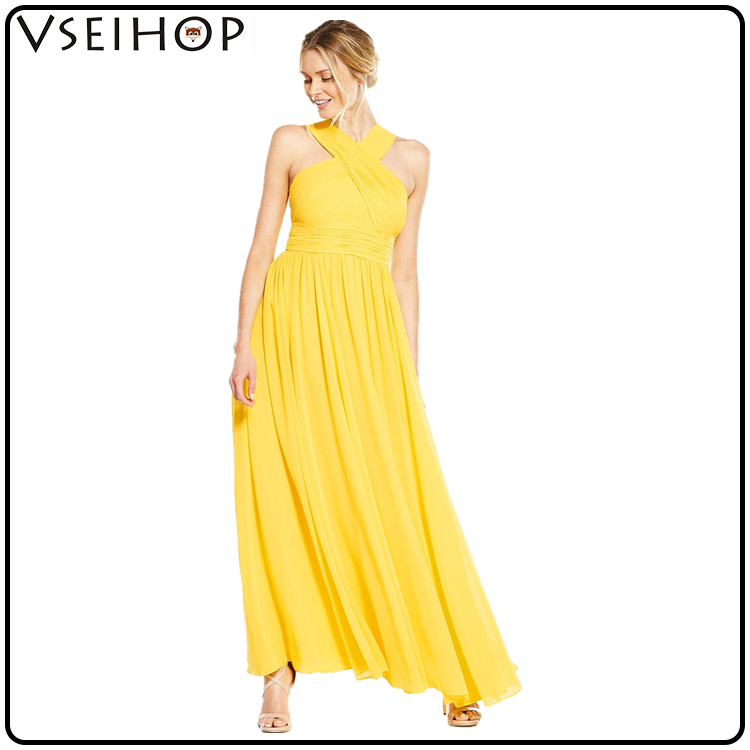 2017 high quality chinese clothing manufacturers plain yellow women long maxi dress