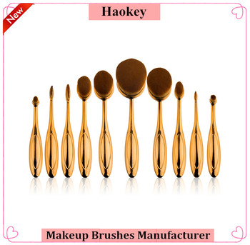 Haokey New Gold color 10pcs Oval foundation makeup brushes