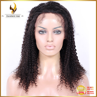 Kinky Curly Virgin Human Hair Natural Color Machine Made Wig