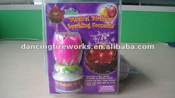 Musical Happy Birthday Sparkling Fountain Candle Toy Fireworks