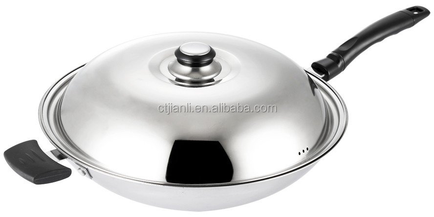 Kitchenware as stainless steel long handle carbon steel fry pan wok with mirror polish