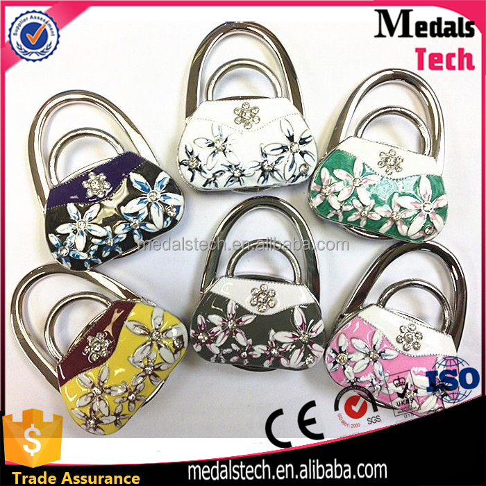 colorful Bag shape znic alloy material floding magnetic handbag hook purse hangers for tables wholesale