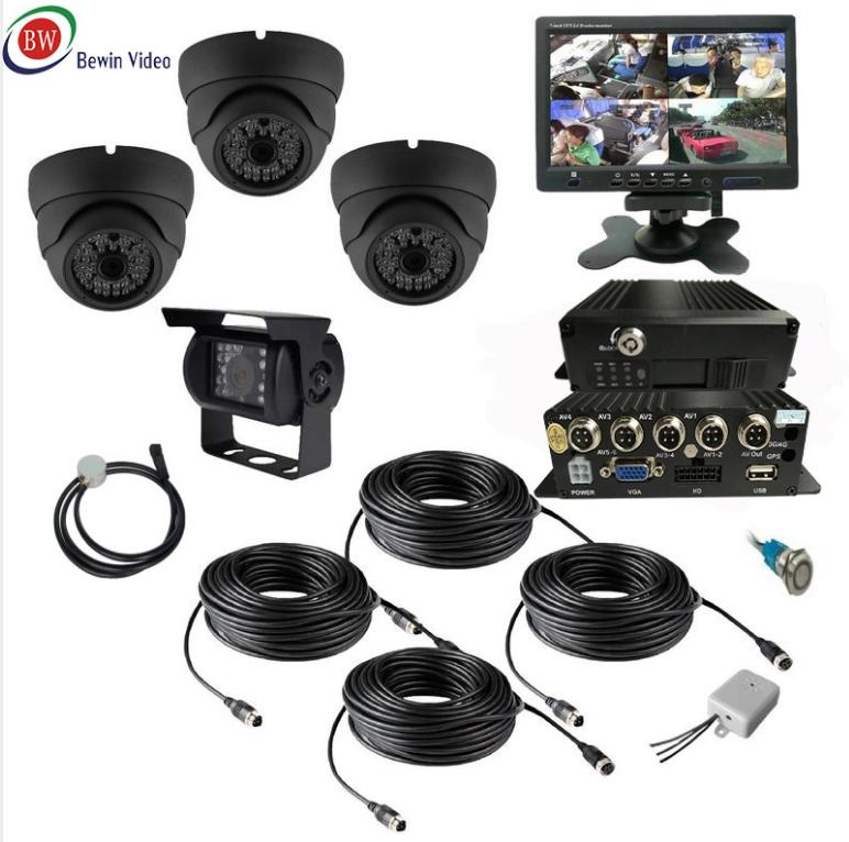 "4CH AHD Car Mobile DVR Wifi 3G GPS+4 CCTV Camera+Video Power Cable 7/"" Screen Kit"