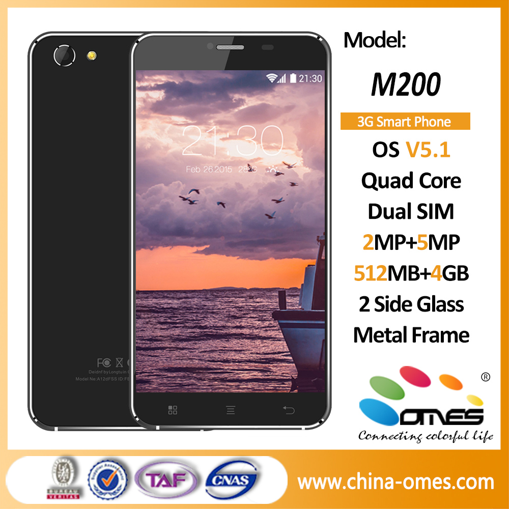 "M200 High Quality 5.5"" Quad Core 3G Android cheapest china no brand smart phone"