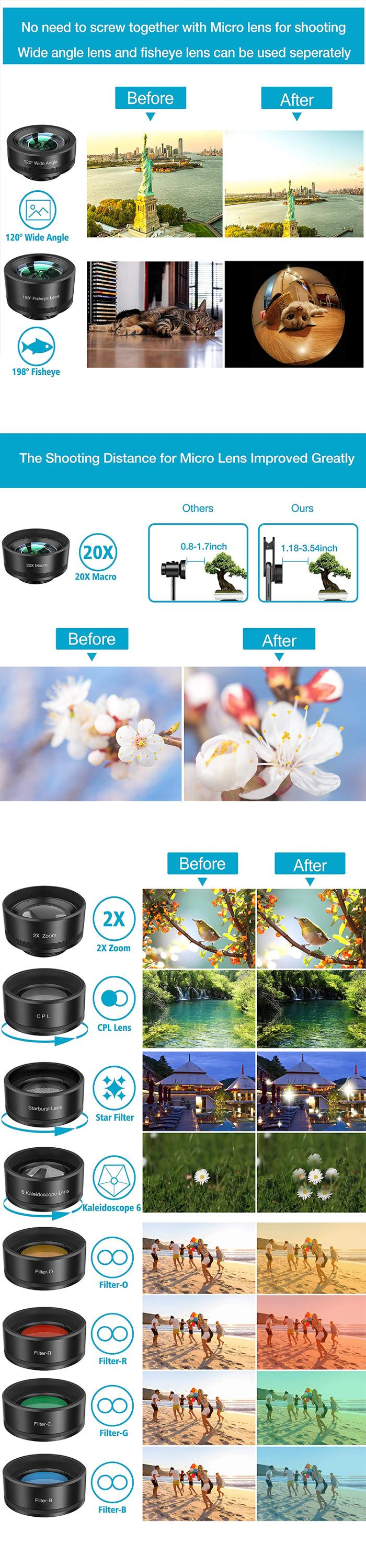 Amazon top seller wide angle macro smartphone lens kit for iphone camera lens