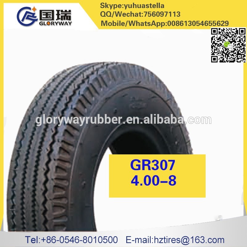 China manufacturer tubless motorcycle tyre with certificate 4.00-8