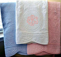 DEMI 084 Wholesale 100% cotton knitted monogrammed soft comfortable Personalized baby blanket baby quilts pink blanket