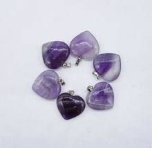 Natural stone heart shaped 20mm amethyst pendant
