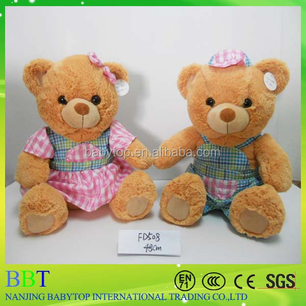 High Quality Cute Lovely Big Stuffed Animal Teddy Bear Clothes Plaid Plush Toys