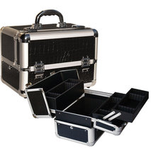 lockable aluminum black makeup artist cosmetic train case