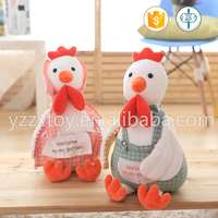 2016 new design pastoral cock and hen stuffed toys with apron