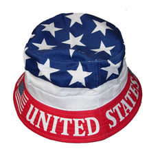 100% cotton custom american flag bucket hat