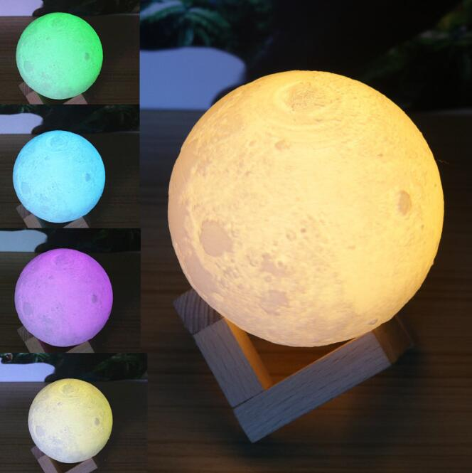 3D Magical Moon LED Night Light Moonlight Desk Lamp USB Rechargeable 3 Light Colors Stepless 3d led lamp