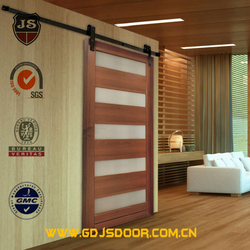 wholesale 100% solid wood sliding barn doors with glass insert