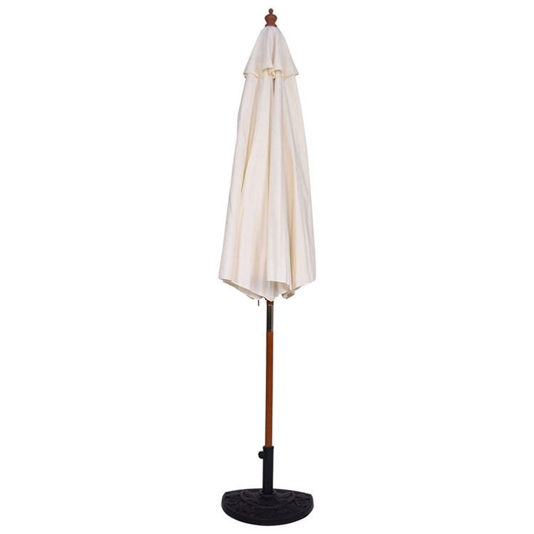 White fabric durable use wooden parasol umbrella for balcony