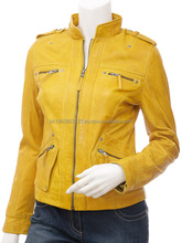hot sale womens leather fashionable jackets windproof yellow